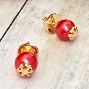 """Tory Burch """"Evie"""" red & gold pearl earrings"""